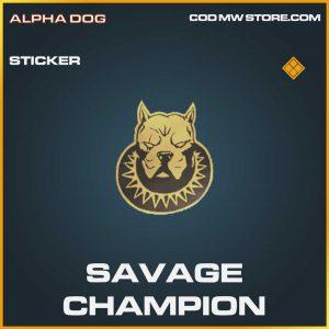 Savage Champion Legendary Sticker Call of Duty Modern Warfare Item