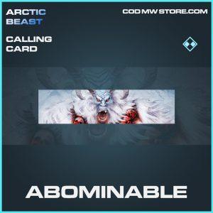 Abominable rare calling card call of duty modern warfare item