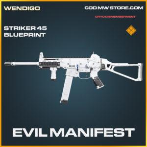 Evil Manifest striker 45 skin legendary blueprint call of duty modern warfare warzone item