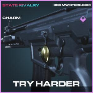 Trry Harder charm Call of duty modern warfare warzone item