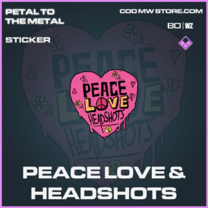 Peace Love & Headshots Sticker in Call of Duty Black Ops Cold War and Warzone