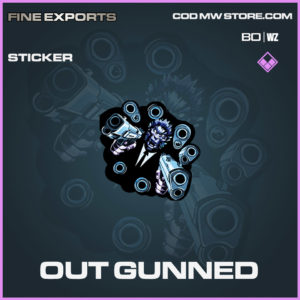 Out Gunned sticker in Cold War and Warzone
