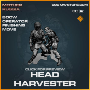 head harvester bocw operator finishing move in Warzone and Cold War